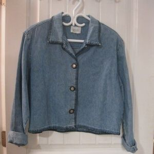 Christopher & Banks Jean Style Jacket LG Blue